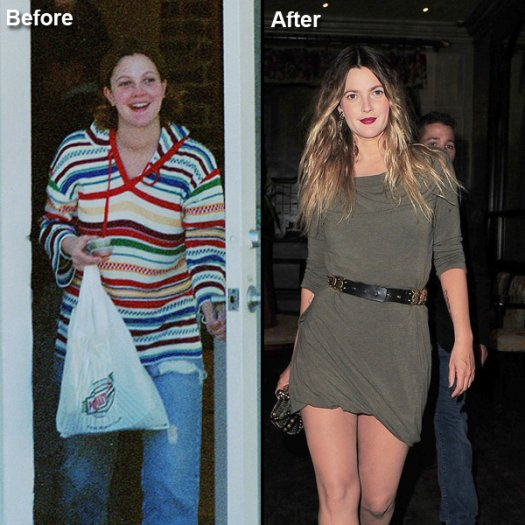 Drew Barrymore Fat to Fit Hollywood Celebrity