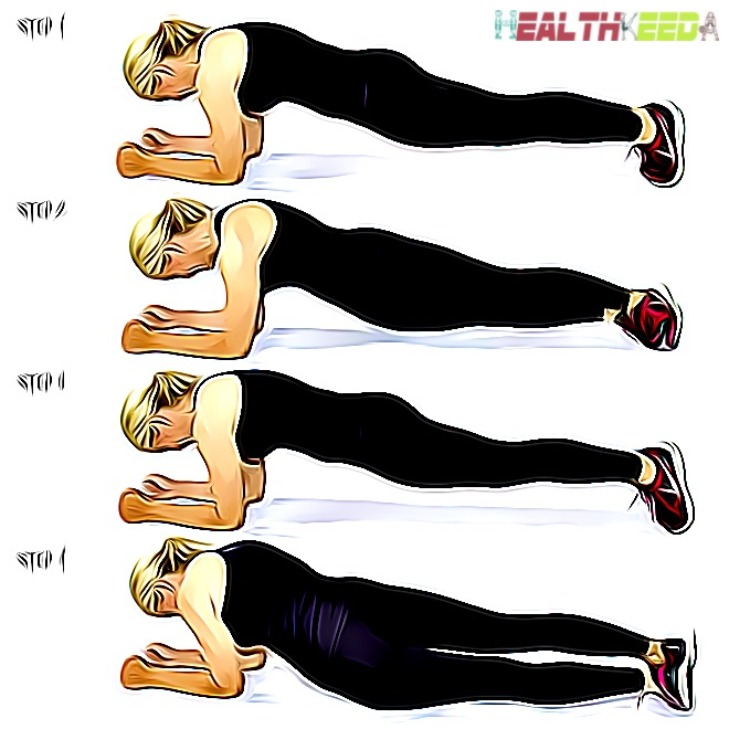 Plank 4 Steps for beginner- reduce breast size