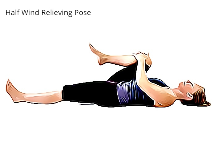Steps for Ardha Pavanamuktasana or Half Wind Relieving Pose